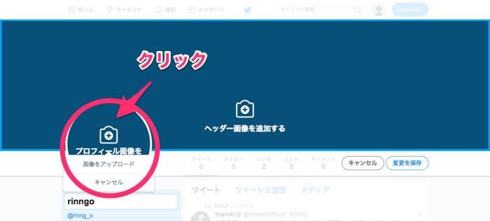 キャプチャー、プロフィール画像の変更