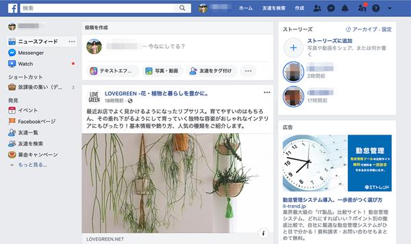 キャプチャー、Facebookiのログイン画面タイムライン