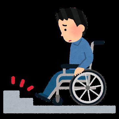 イラスト、車椅子と階段