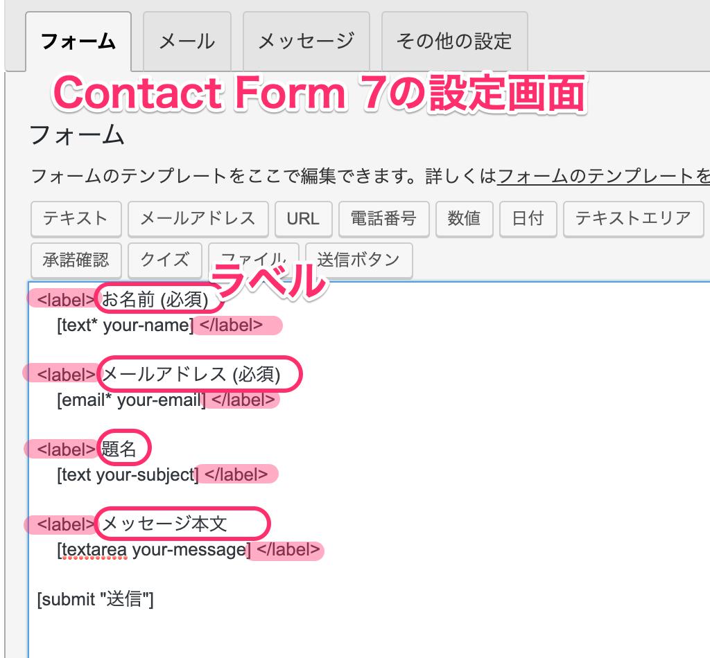 キャプチャー、ContactForm7の設定画面